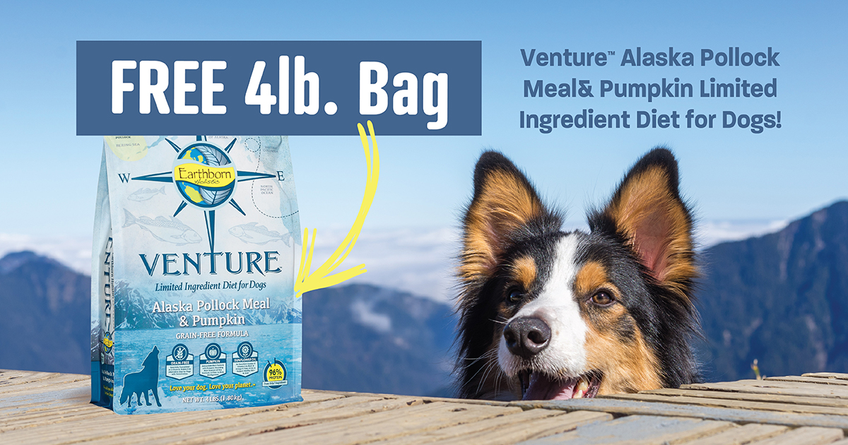 For a limited time, get a FREE 4 lb. bag of Venture Alaska Pollock Meal & Pumpkin Limited Ingredient Diet for Dogs!